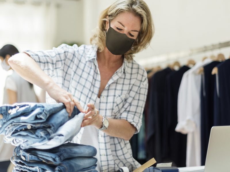 New Normal In Retail Business Owner Wearing A Mask